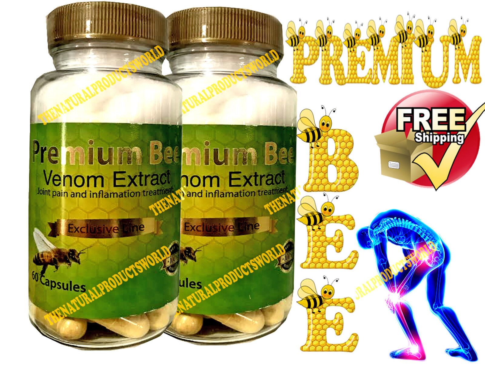 2 PREMIUM BEE anti-inflamatory Extracts Arthritis Pain abeemed bio bee therapy
