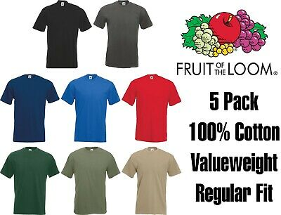 5 Pack Mens Fruit of the Loom Plain 100% Cotton Blank T-Shirt TShirt