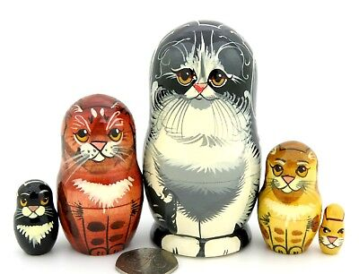 Black CAT Matryoshka Nesting Russian Dolls Small 5 Tabby Ginger Kitten signed for sale  Shipping to Canada