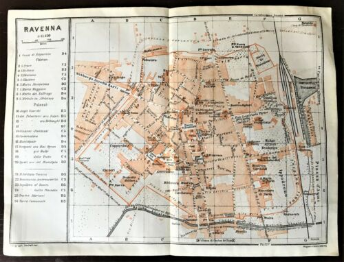 RAVENNA, ITALY ~ Original 1909 ANTIQUE COLOR CITY MAP ~ Karl Baedeker