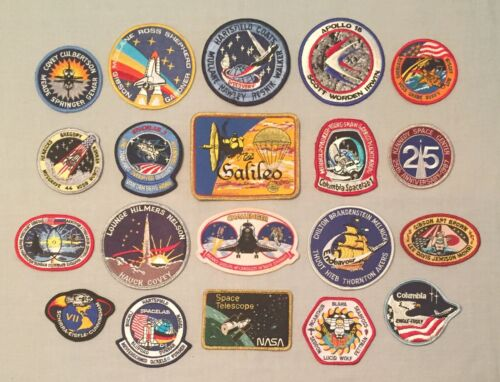NASA PATCHES LOT of 20 Space Program STS Shuttle Mission Spacelab Galileo Apollo