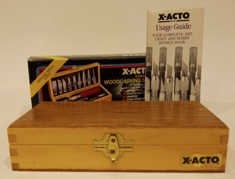 Vintage 1989 X-ACTO Woodcarving Tool Set Original Box with Usage Guide and Box