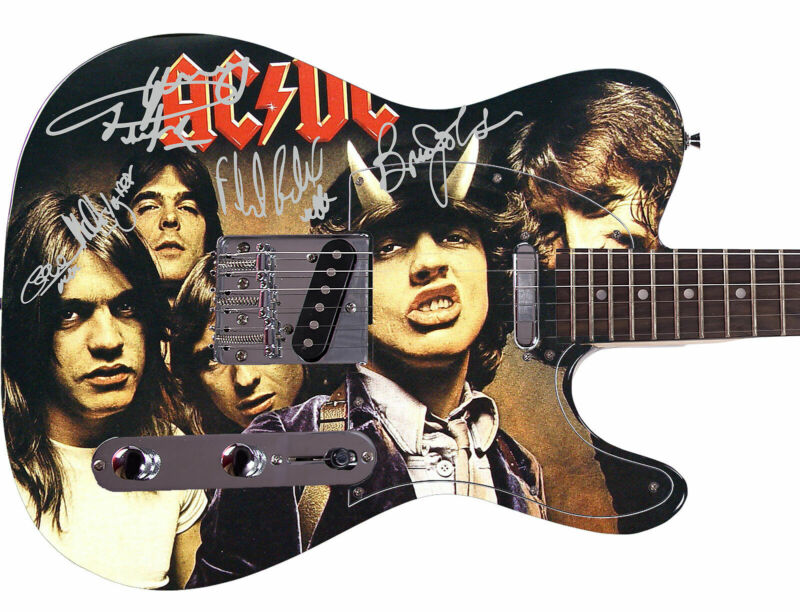 AC/DC ACDC Autographed Signed Custom Graphics Guitar