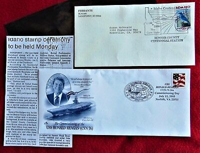 USS RONALD REAGAN FIRST DAY OF ISSUE ENVELOPE ~ 2003 with Stamp & IDAHO STAMP