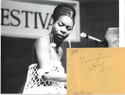 NINA SIMONE...VINTAGE IN PERSON HAND SIGNED INSCRIBED ALBUM PAGE WITH IMAGE.RARE