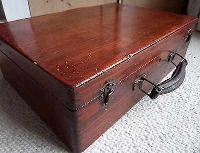 Vintage Antique Wooden Travel Suit Case Artists Box Retro