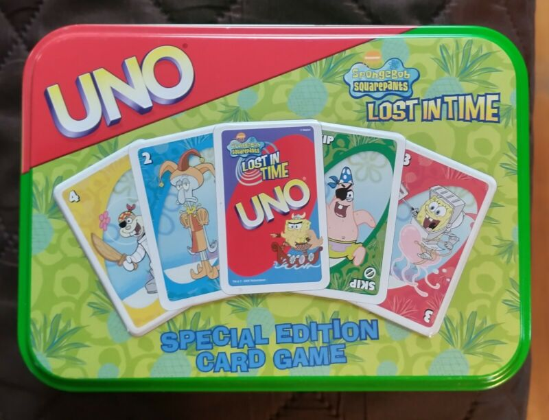 Uno Spongebob Squarepants Lost in Time Special Edition Card Game tin
