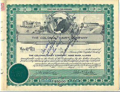 The Colonial Dairy Company Stock Certificate Wood River Illinois