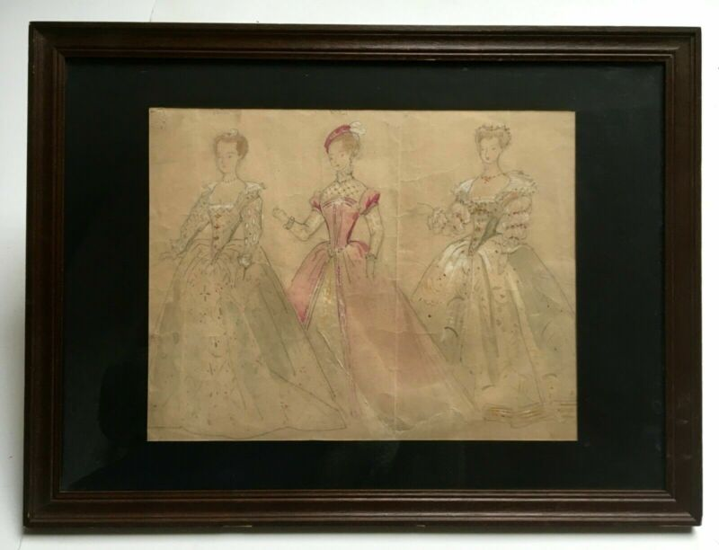 Old watercolor drawing, Study of Renaissance costumes, Framed, Early 20th...