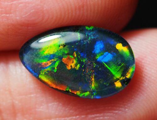 Super Gem A+++ Natural Australian Coober Pedy Opal Triplet 13x8 mm pendant ring