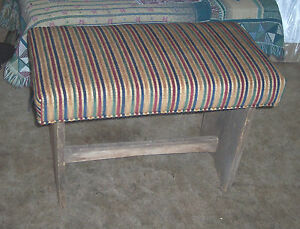 Rustic-Barnwood-Vanity-Bench-stripe-chenille-BN81
