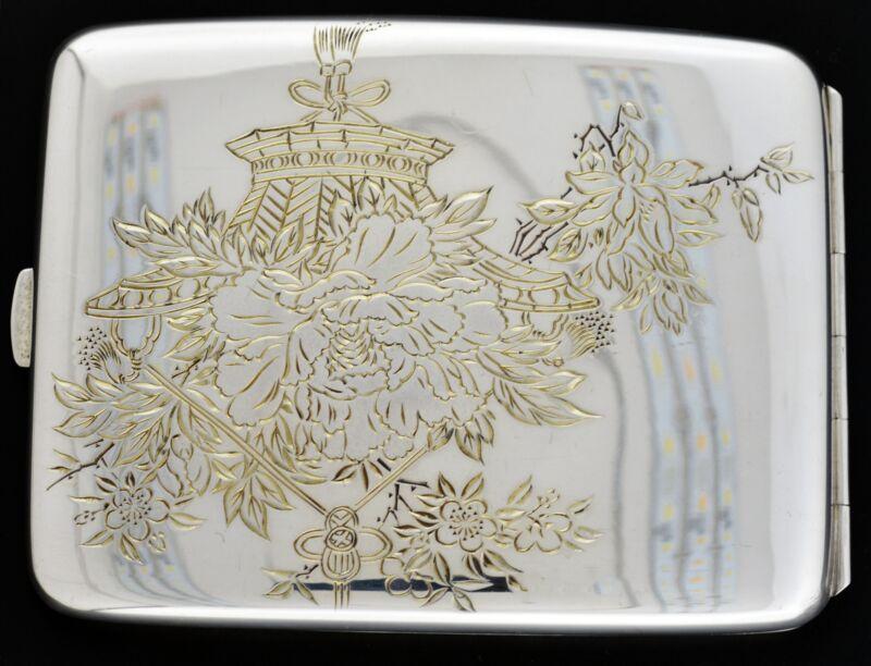 Antique Art Deco Chinese 950 Fine Silver Floral Cherry Blossom Cigarette Case