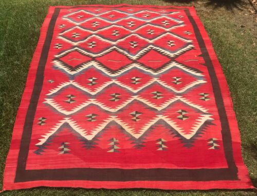 """Very Large Red Native Am. Rug Vintage 1900s (Possible Navajo Weaving) 108"""" x 78"""""""