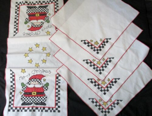 Finished Completed Cross Stitched Table Runner & Napkin Christmas Santa Clause