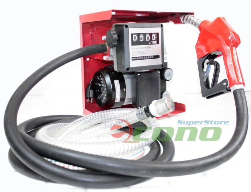 AC 110V Diesel Fuel Refill Pump Mechanical Meter Fueling W/Automatic Nozzle Hose