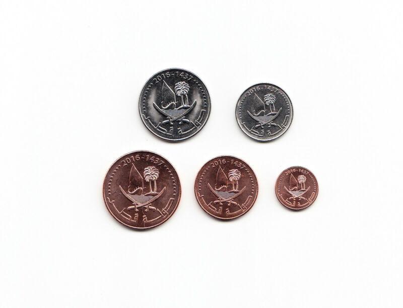 Qatar Set of 5 Coins - 1 to 50 Dirham (2016) KM#New/UNC
