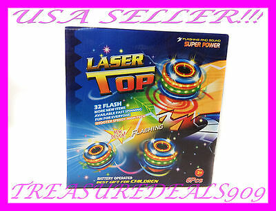6 PCS Spinning Top Kids Toy UFO Laser Color Flash LED Light Up Music Gyro Peg