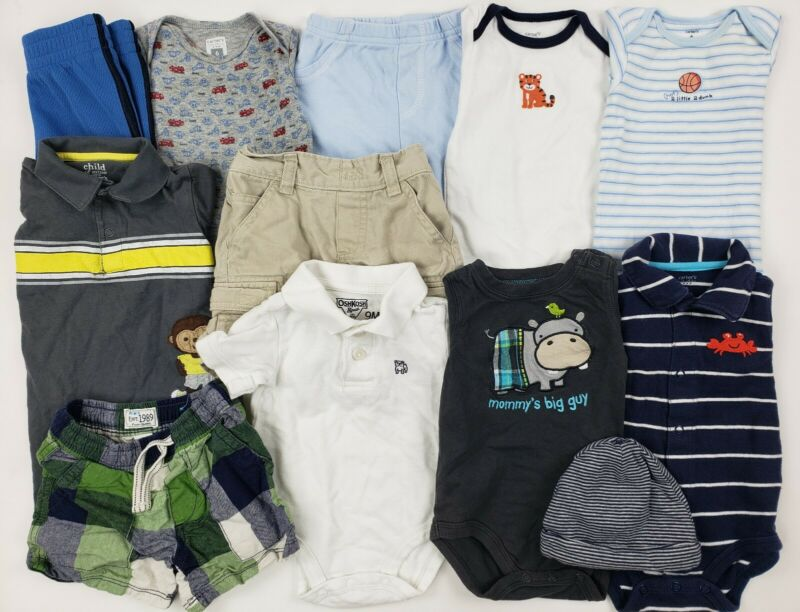 6-9 Months Baby Boys Clothes Lot Carters Oshkosh Place Etc Romper Collar Plaid