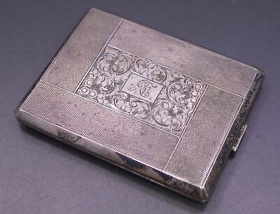 Antique Signed .900 Silver Hinged Engraved Cigarette Case Cloth Straps ~ Mono AF