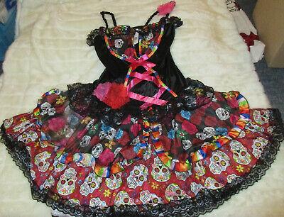 Faschingskleid mit Rosen und Totenköpfen Sugar Skull  Gr. S/M