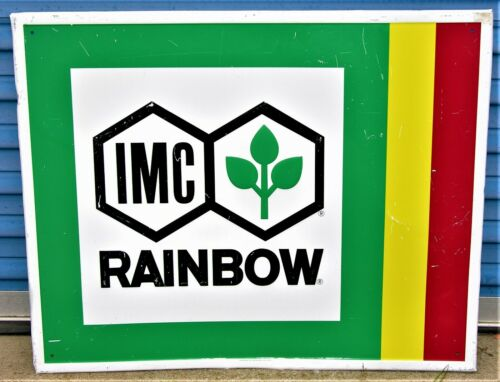 Vintage IMC Rainbow Fertilizers Tin Sign Metal