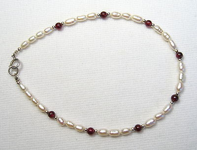 Garnet Silver Anklet (Lyns Jewelry Freshwater Pearl  and  Garnet Anklet Silver 9, 9.5 or 10