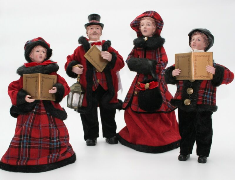Set of 4 Dickens Family Holiday Carolers by Valerie Parr Hill