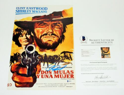 CLINT EASTWOOD SIGNED 'TWO MULES FOR SISTER SARA' 12x18 MOVIE POSTER BECKETT COA