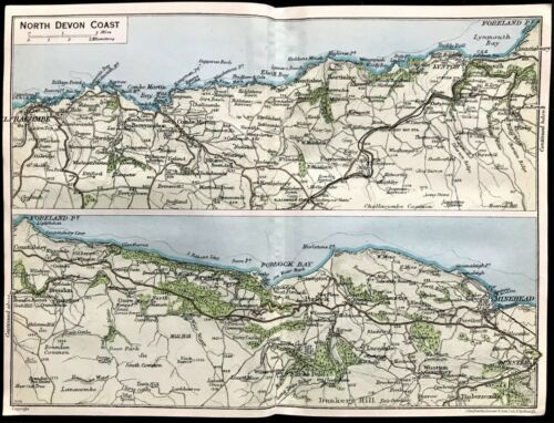 Antique Color Map : NORTH DEVON COAST,  ENGLAND : 100% AUTHENTIC 1930 MAP Rare