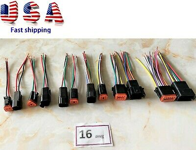 6 Black Assembled Deutsch 2346812 Pin16 Awg Waterproof Connector