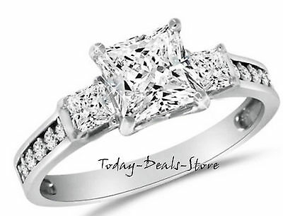 2.6 Ct Engagement Wedding 3-Stone Ring Real 14K White Solid Gold Princess Cut