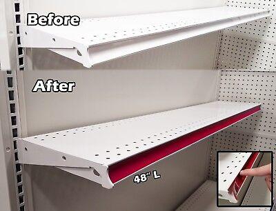 New 100 Pack Gondola Shelving Pre Cut Insert Strip 48 X 1.25 Shelf C-channel