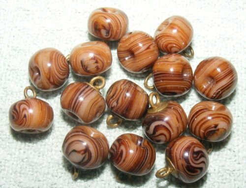 """BEAUTIFUL SET OF 15 MATCHING GLASS CHARMSTRING BUTTONS - 3/8"""" +/-"""