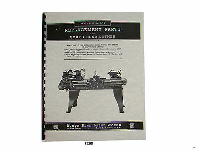 South Bend Series O N R T Lathe Parts List 1290