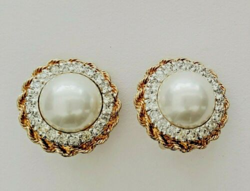 Vintage PANETTA Faux Pearl with Rhinestones Gold Tone Clip Earrings *STUNNING*