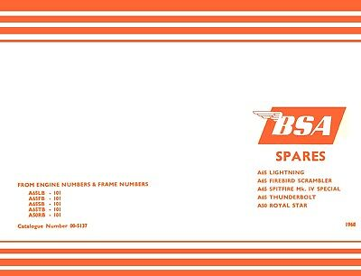 New BSA A65LB Lightning A65FB A65SB A50 Parts Book 1968 Catalogue Good Quality