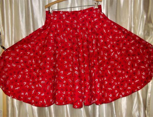 "Music notes; square dance party skirt, Large 31"" waist Medium full-circle cotton"