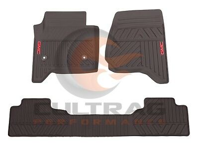 2014 2018 GMC Sierra Genuine GM Front  Rear All Weather Floor Mats Cocoa