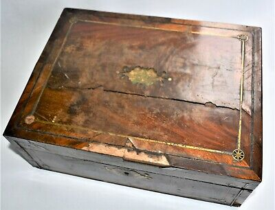 Antique Writing Table Repair Project Ink Bottle and Rusted Key Inside 33cm wide