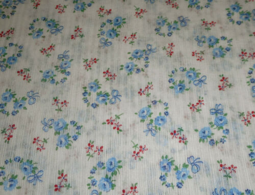 Antique Small Scale Floral Roses Dimity Cotton Fabric ~ Pink Blue ~ Dolls Blouse