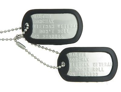 Walter Sobchak Stainless Steel Military Dog Tag Costume Necklace Set