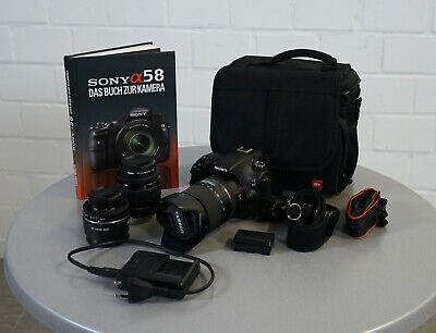 Sony Alpha A58 SLT Spiegelreflex Digitalkamera 20 MP mit 3 Objektiven Konvolut