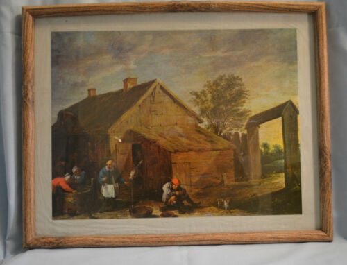 Quality Medieval Country Life Oil on Paper Painting with Frame 18 by 14 inches