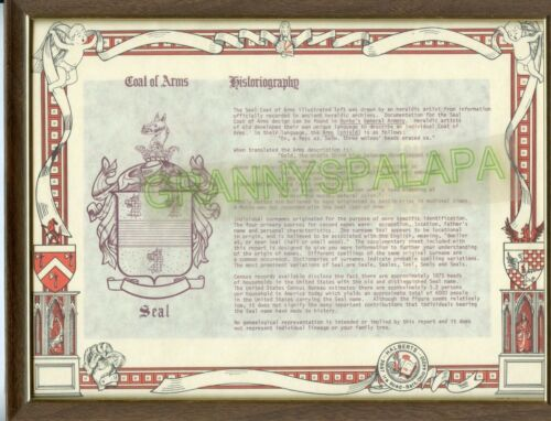 Older Coat Of Arms - Seal Family - Framed W/Glass