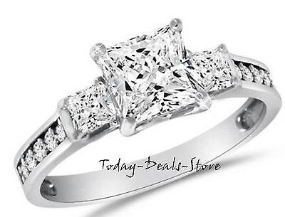 2.60 CTW three 3-stone ring princess cut vvs/d engagement wedding white 14k gold