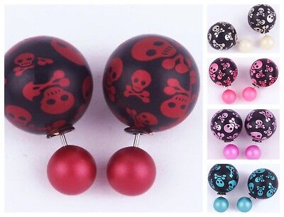 Halloween Fashion Jewelry - Fashion Skull Earrings Jewelry Front Back Ball Faux Pearl Acrylic Halloween Gift