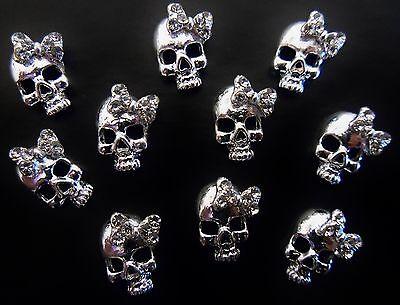 BLinG 3D Alloy Metallic Halloween Nail Art Silver *Skulls* with Rhinestone - Halloween Bling Nail Art