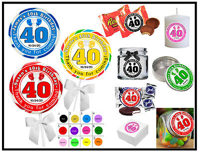 Favors For 40th Birthday (40TH BIRTHDAY PARTY FAVORS STICKERS  for lollipops  goody bags, favor boxes,)