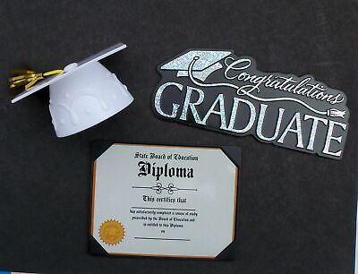 Graduation Party Cake Topper 3 Pc School Celebration White Cap