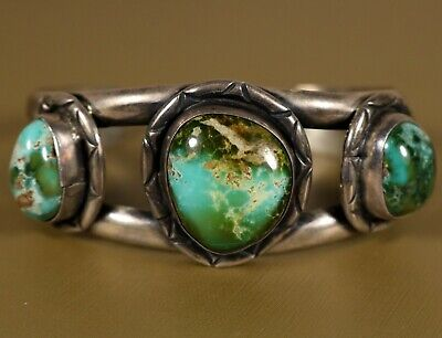 RUSTIC 3 Stone Turquoise NAVAJO Old Pawn Vintage Sterling Silver Cuff Bracelet